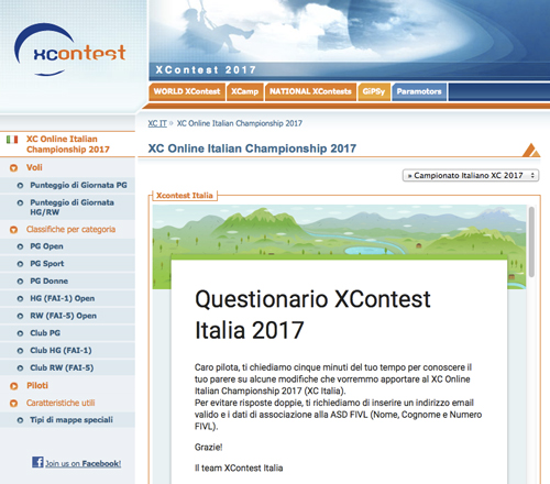 questionario xcontest